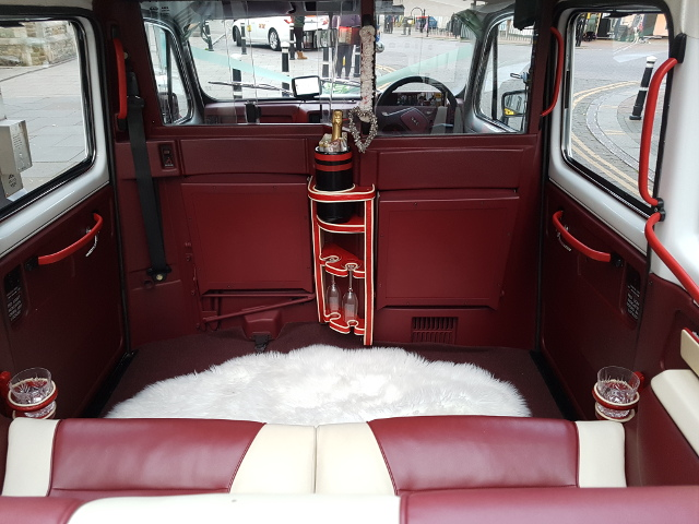 White London Taxi Wedding Car Interior