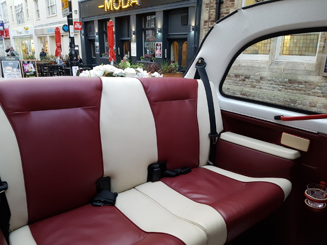 London Taxi Wedding Car Interior View